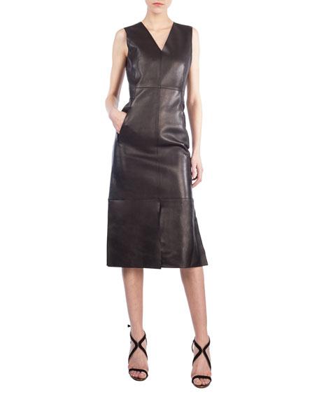 Sleeveless Leather V-Neck Dress