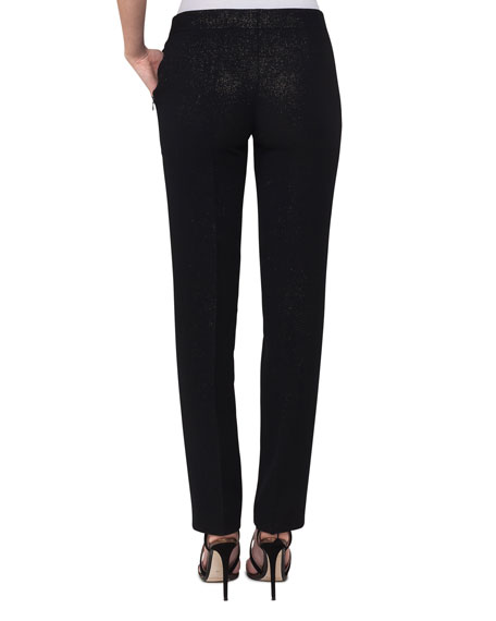 Maxime Metallic Straight-Leg Pants