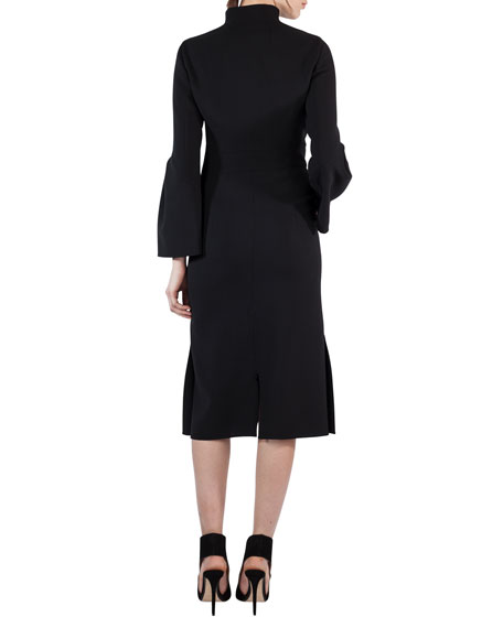 Bell-Sleeve Zip-Front Wool Dress