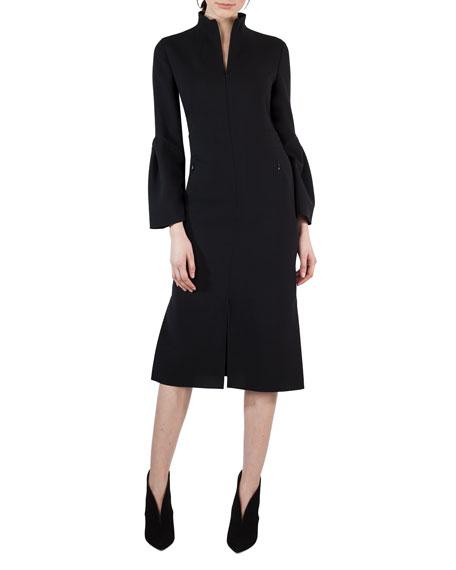 Akris Bell-Sleeve Zip-Front Wool Dress