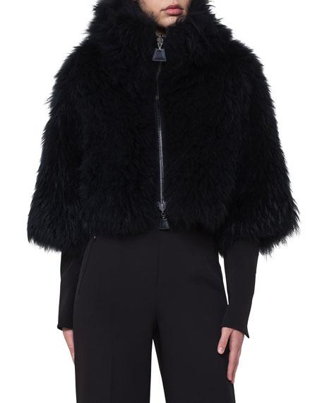 Zip-Front Goat Fur Cape Jacket
