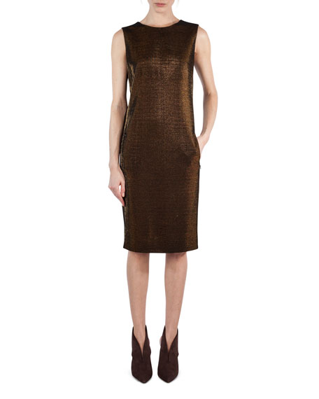 Sleeveless Metallic Jersey Sheath Dress