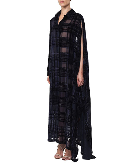 Devoré Plaid Georgette Coat Dress