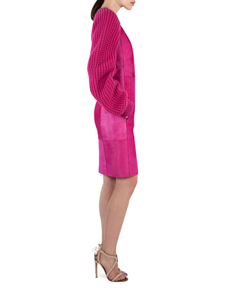 Calf Hair Dress with Knit Sleeves