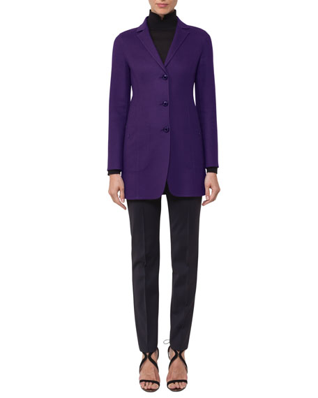 Three-Button Long Wool/Cashmere Jacket