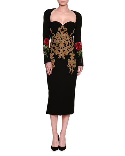 Rose-Embroidered Stretch-Crepe Long-Sleeve Dress