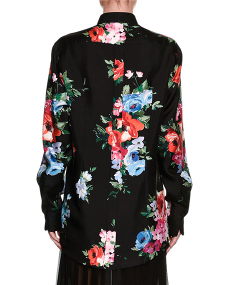 Long-Sleeve Floral-Print Pajama Blouse