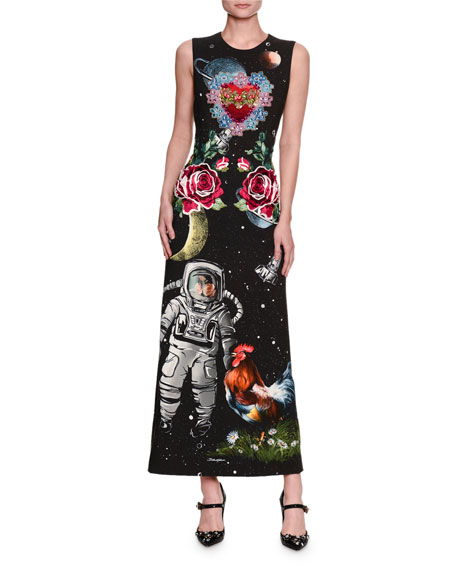 Dolce & Gabbana Astronaut-Print Sleeveless Cady Maxi Dress