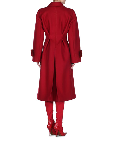 Felt Mink-Cuff Coat