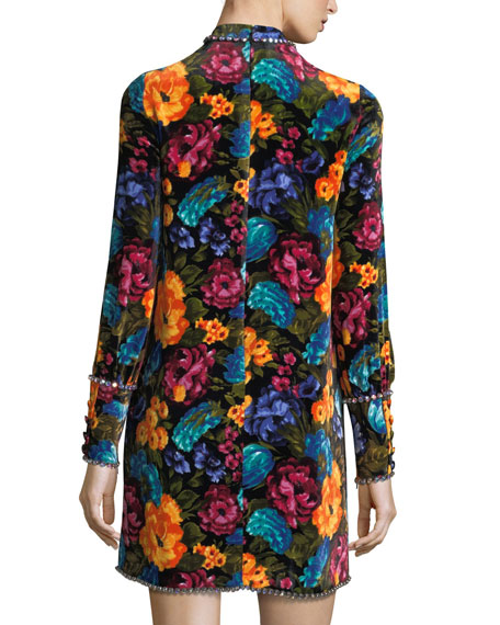 Floral-Print Velvet Tie-Neck Dress