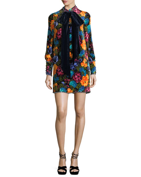 Floral-Print Velvet Tie-Neck Dress