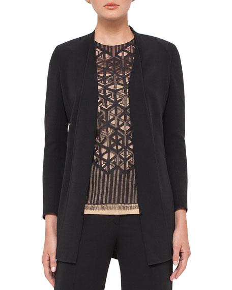 Akris Open-Front Wool-Blend Cardigan Jacket, Black