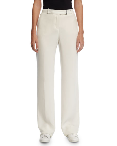 Lawrence Matte Silk Pants, White