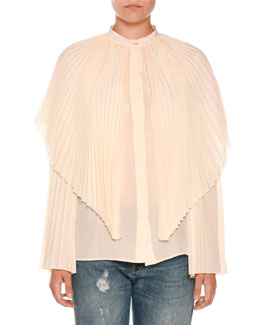 Pleated Silk Capelet Blouse