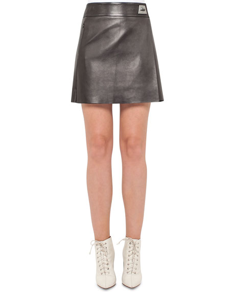 Akris Napa Leather A-Line Wrap Miniskirt, Black