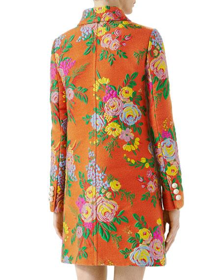 Felted Flower Jacquard Coat