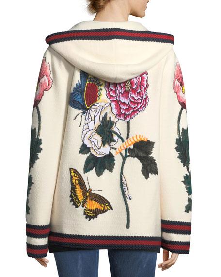 Fine Wool Cardigan with Intarsia