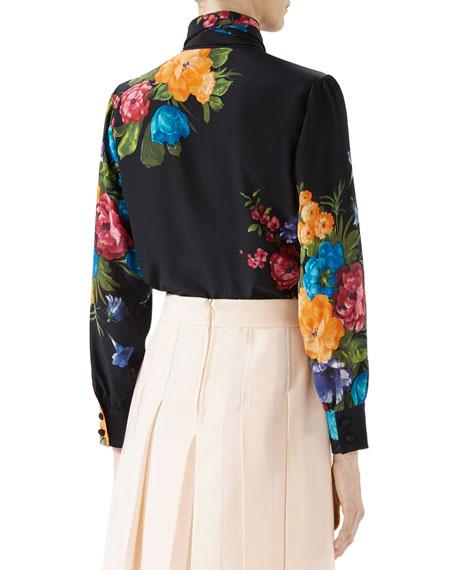 Pictorial Bouquet Print Silk Shirt