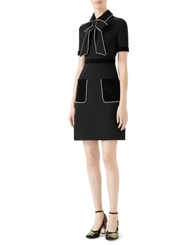 Viscose Jersey Dress with Pearls & Crystals