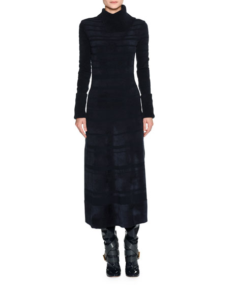 Split-Neck Chenille Midi Dress