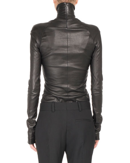 Stretch-Leather Mock-Neck Top