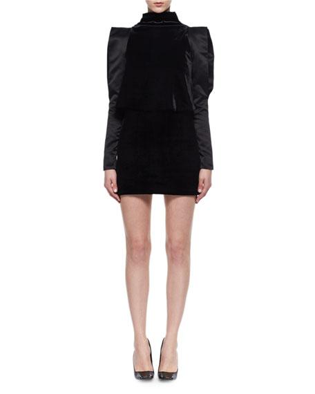 Long-Sleeve Strong-Shoulder Velvet Dress