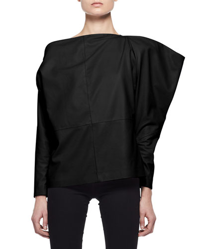 Leather Off-Shoulder Top, Black