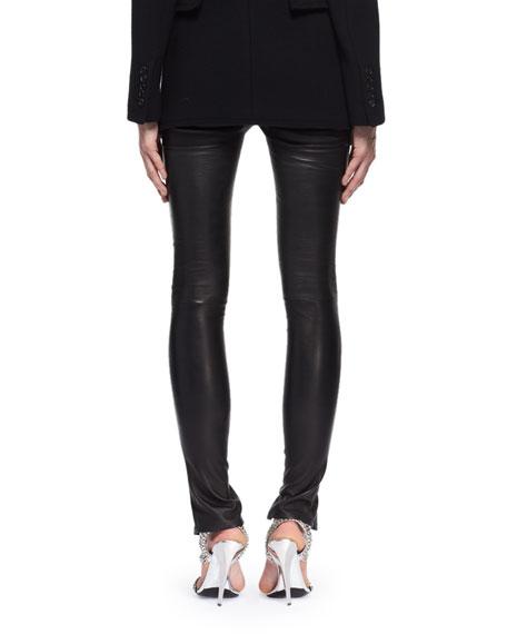 Leather Zip-Cuff Pants