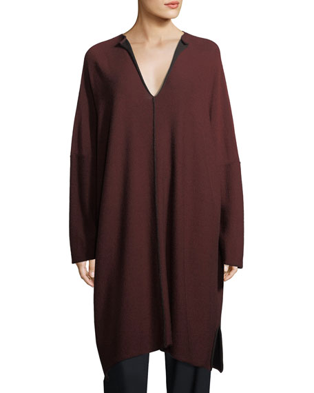 Split-Neck Merino Wool Pullover