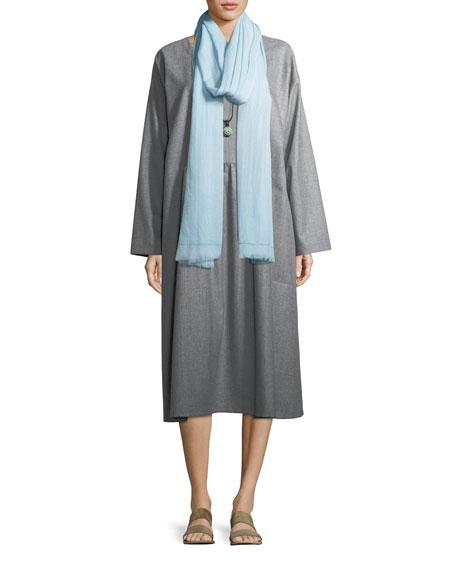 Pleated Round-Neck Wool Dress
