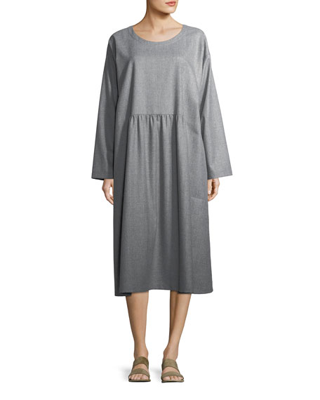 Pleated Round-Neck Wool Dress