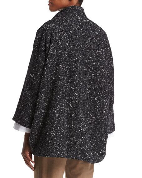 Slope-Shoulder Mandarin-Collar Coat