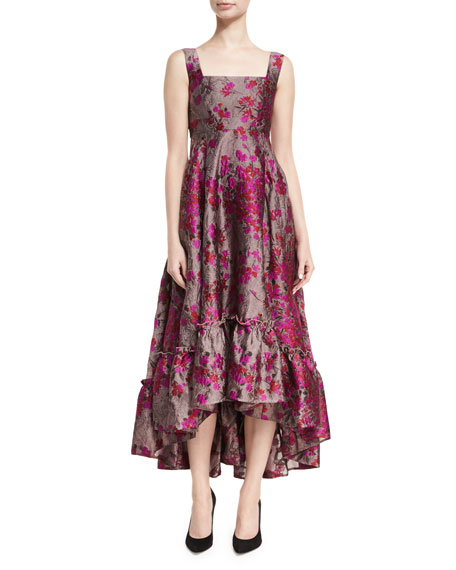 Metallic Floral Jacquard High-Low Dress