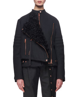 Shearling-Trimmed Twill Moto Coat