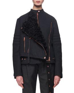 Shearling-Trimmed Twill Moto Coat