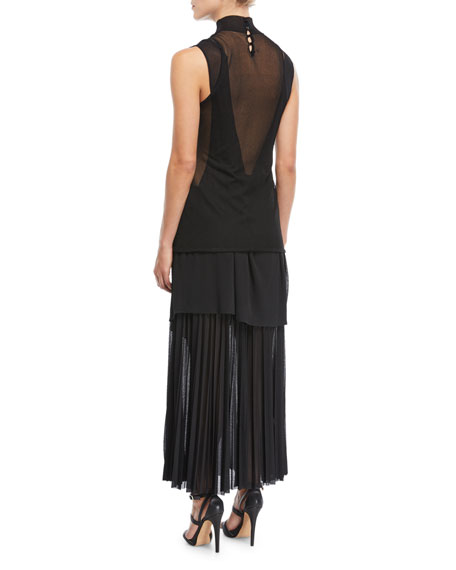 Pleated Gauze Jersey Mock-Neck Dress