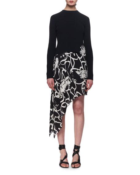 Asymmetric Knot-Print Georgette Dress