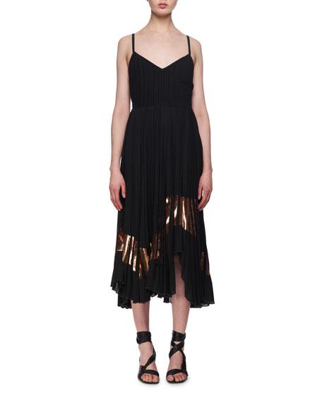 Foil-Trim Crepe Cami Dress