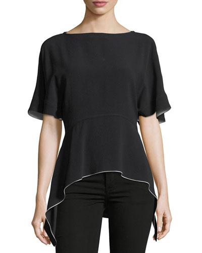Short-Sleeve Arch-Hem Crepe Top
