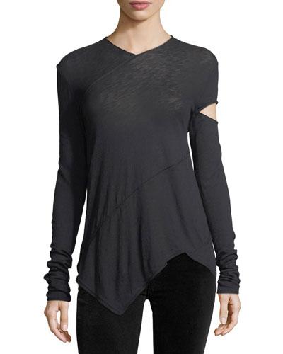 Side-Slash Spiral Tissue T-Shirt