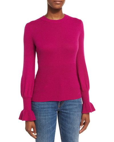 Ribbed Ruffle-Cuff Sweater