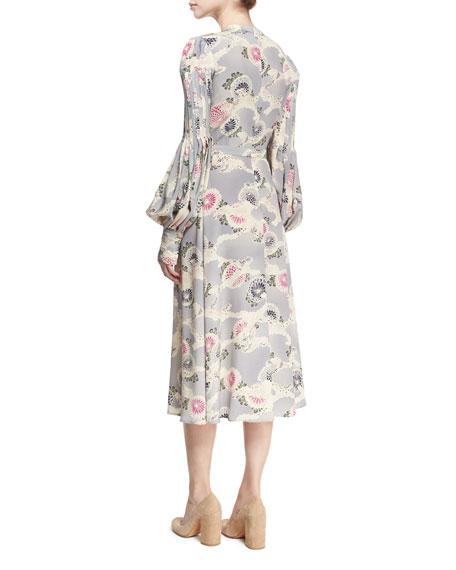 Mum-Print Silk Bishop-Sleeve Keyhole Midi Dress