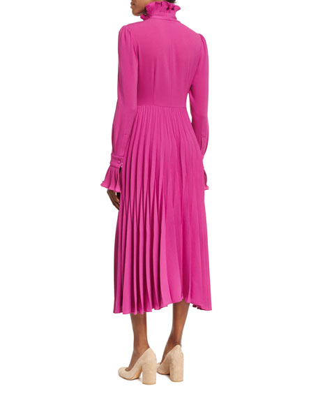 Reverse-Pleated Necktie Midi Dress, Magenta