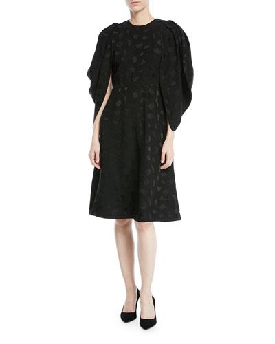 Cocoon-Sleeve Mosaic Jacquard Midi Dress