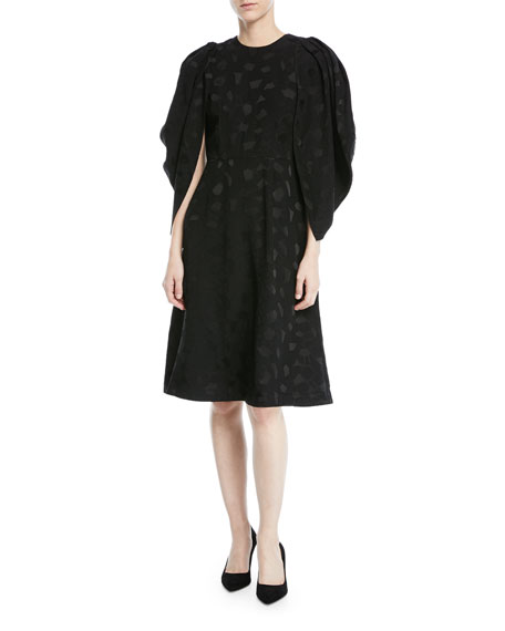 Cocoon-Sleeve Mosaic Jacquard Midi Dress