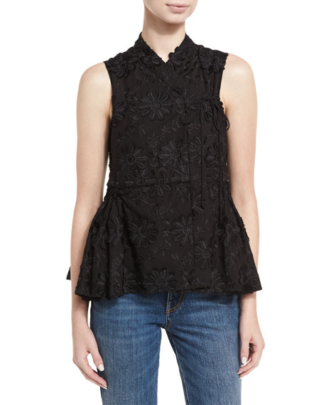 Floral-Embroidered A-Line Top