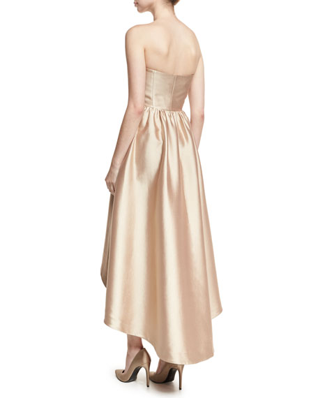 Strapless Satin High-Low Cocktail Dress