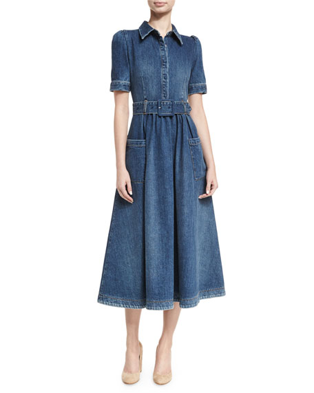 Belted Denim Midi Shirtdress