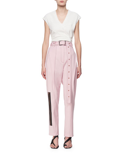 Pleated Straight-Leg Pants