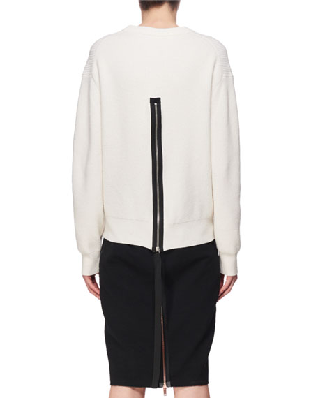 Ribbed Back-Zip Pullover Top